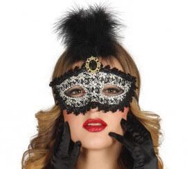 Masque Vénitien noire avec plume