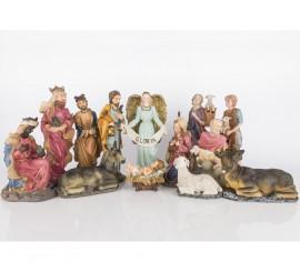 Belén grande Adoración al niño de 13 figuras