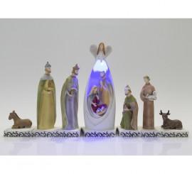 Belén Mirada de Ángel de 7 piezas con luz