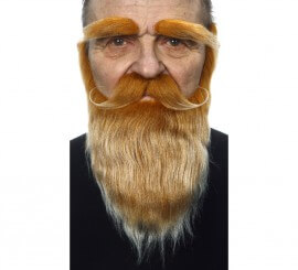 Bigote con Barba y Cejas castaño