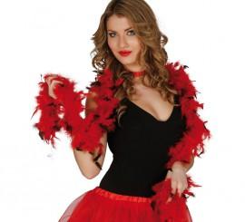 Boa bicolor roja y negra de plumas de 40 gr