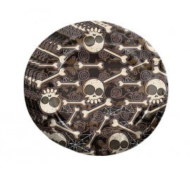 Bolsa de 8 platos de calaveras y huesos de 23 cm