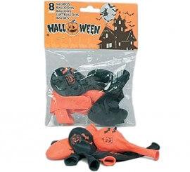 Bolsa de 8 globos con impresión para Halloween