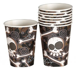 Bolsa de 8 Vasos de calaveras y huesos