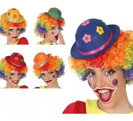 Bombín de Payaso con Flores en 5 colores surtidos
