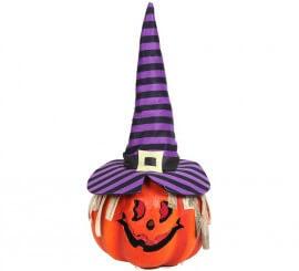 Calabaza con sombrero de bruja y luz 23 cm