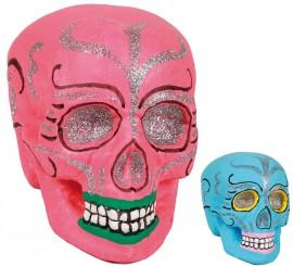 Calavera Día de los Muertos en colores surtidos 17 cm