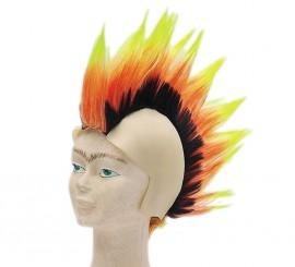 Calva con cresta Punk tricolor