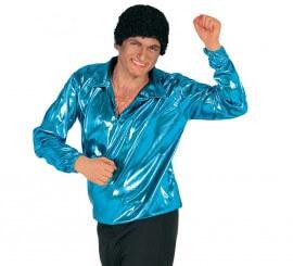 Camisa Disco Brillo azul turquesa para hombre
