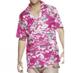 Camisa Hawaiana rosa para hombre