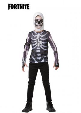 Camiseta Disfraz con Capucha Skull Trooper Fortnite para niño y adolescente
