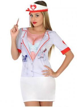 T-shirt rigolo Infirmière pour femme. Taille M-L