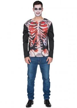 T-Shirt Déguisement de Squelette Zombie pour homme