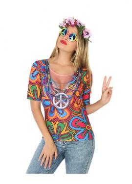 Camiseta disfraz de Hippie para mujer