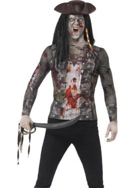 Camiseta Disfraz de Pirata Zombie para hombre
