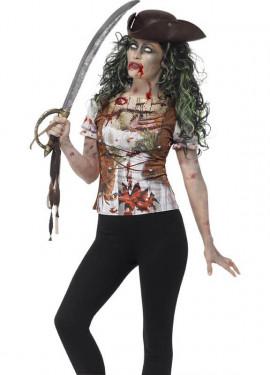 Camiseta Disfraz de Pirata Zombie para mujer