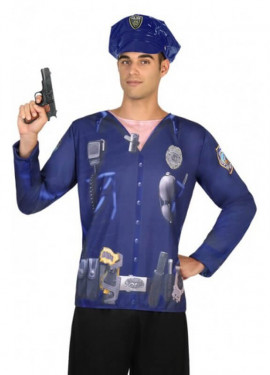Camiseta disfraz de Policía para hombre