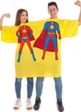 Camiseta Disfraz Doble Súper Héroes Birras para adultos