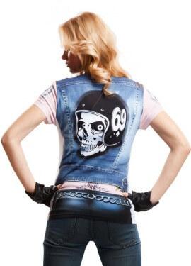 Camiseta disfraz Motorbiker Girl para mujer