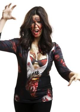 Camiseta disfraz Zombie para mujer para Halloween