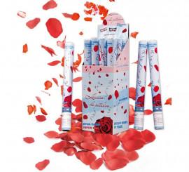Cañón o tubo de Pétalos de rosa rojos de 50 cm para Bodas
