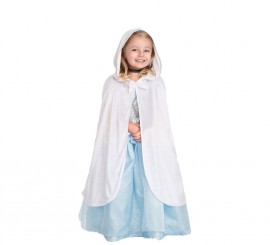 Capa Blanca con capucha y lazo para niña