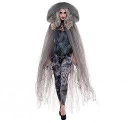 Capa de fantasma con capucha color gris