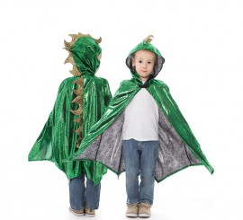 Capa de Dragón verde y dorada infantil