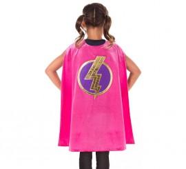 Capa de Superheroína fucsia para niña