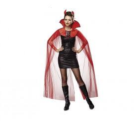 Capa Demoníaca roja con cuello y cuernos para mujer de Halloween