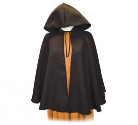 Capa Medieval corta Negra para adultos