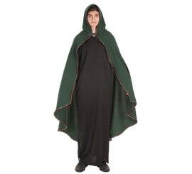 Capa Medieval Verde Ribete Piel para adultos