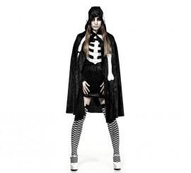 Capa negra de Esqueleto corta