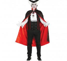 Capa Negra de Vampiro de con Forro Rojo 115 cm