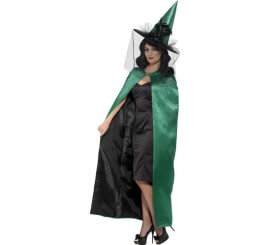 Capa Reversible de Bruja verde y negra para mujer