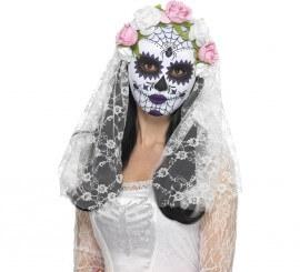 Masque avec Voile de Mariée Dia de los Muertos pour adultes