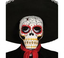 Careta de Esqueleto Catrina de papel maché con araña