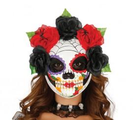 Careta de Esqueleto Catrina con flores de papel maché