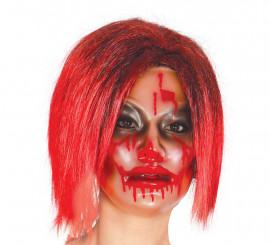 Careta de mujer Zombie transparente con sangre