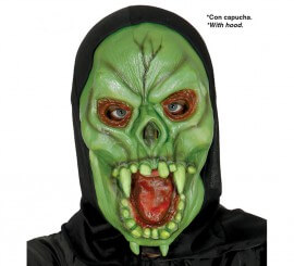 Careta de Vampiro verde con capucha