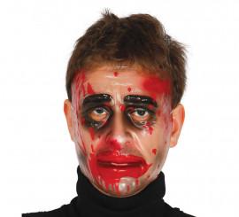 Careta de hombre Zombie transparente con sangre