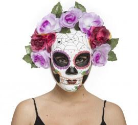 Careta Día de Los Muertos con Telarañas y Flores