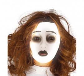 Careta transparente de mujer con efecto fluorescente
