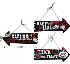 Cartel de Dirección para Halloween en 3 modelos surtidos 35X15 cm