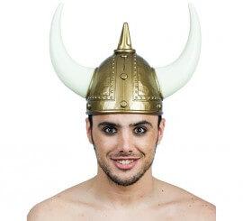 Casco Vikingo Dorado y Blanco