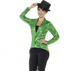 Chaqueta o Frac verde con lentejuelas para mujer