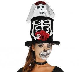 Chistera de mujer con adorno Novia esqueleto