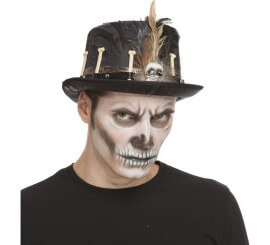 Chistera de Vudú de Esqueleto con plumas