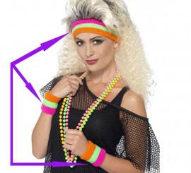 Cinta para la cabeza y 2 Muñequeras fluorescentes años 80