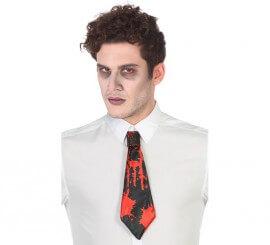 Corbata Negra con Sangre para Halloween
